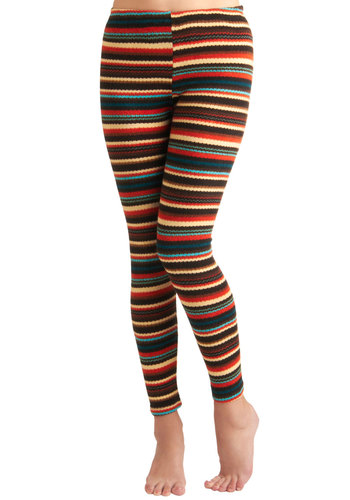 Lakeside Lodge Leggings - Orange, Blue, Brown, Tan / Cream, Stripes, Casual, Rustic, Fall, Tis the Season Sale