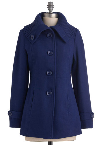 For Heat's Sake Jacket - Blue, Solid, Buttons, Pockets, Long Sleeve, 3, Casual, Fall, Mid-length