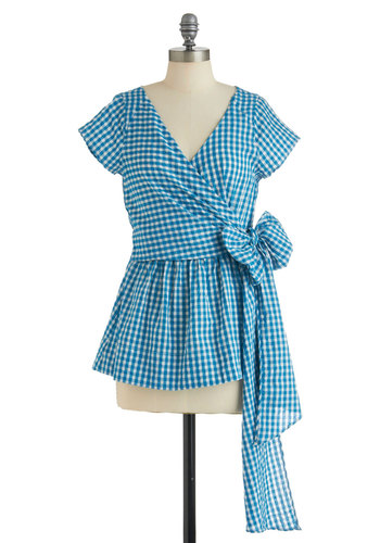Me Oh My Top - Blue, White, Checkered / Gingham, Casual, Vintage Inspired, Short Sleeves, Summer, Mid-length, Belted, Peplum, Cotton, V Neck