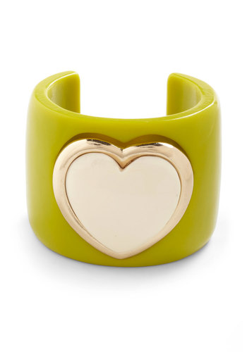 Let Your Heart Rule Bracelet - Green, Tan / Cream, Gold, Solid, Casual, Neon, Girls Night Out