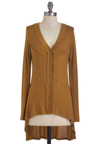 Butterscotch Topping Cardigan - Brown, Solid, Buttons, Casual, Long Sleeve, High-Low Hem, Mid-length, Button Down, V Neck