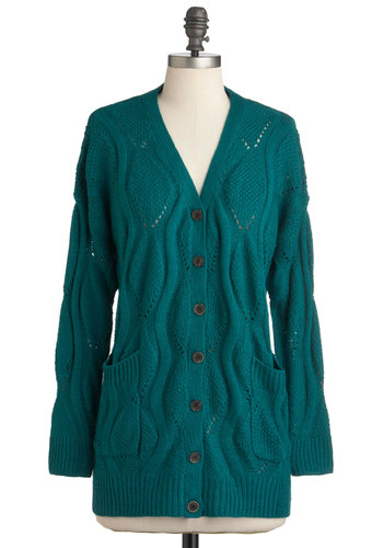 Dream Swirled Cardigan - Blue, Solid, Buttons, Knitted, Pockets, Casual, Vintage Inspired, Long Sleeve, Fall, Sheer, Green, Button Down, V Neck