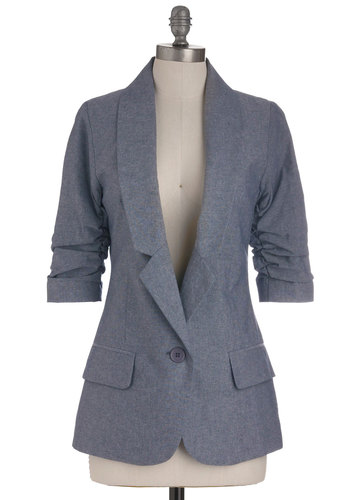 Cham-brainy Blazer - Blue, Solid, Buttons, Pockets, Menswear Inspired, 3/4 Sleeve, Work, Mid-length, Scholastic/Collegiate, 1