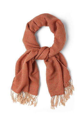 Weave Through Crowds Scarf in Rust - Orange, Fringed, Fall