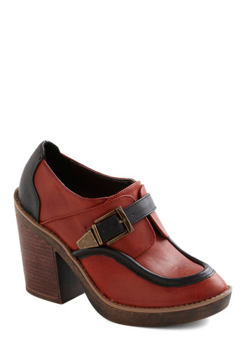 Across the Gourd Heel - Orange, Black, Buckles, Casual, Fall, High, Scholastic/Collegiate, Faux Leather, Platform, Chunky heel, Mod