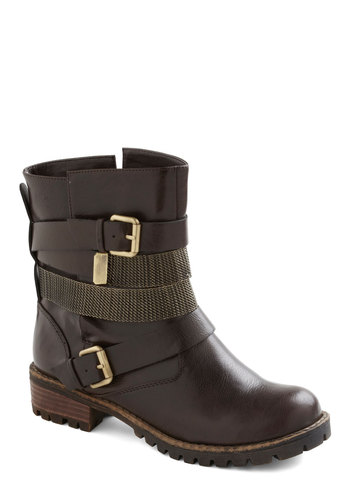 Buckle My Shoe Boot - Brown, Solid, Buckles, Casual, Fall, Faux Leather, Flat, Tis the Season Sale