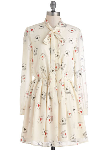 Winner Takes All Dress by Sugarhill Boutique - Mid-length, Cream, Red, Black, Tie Neck, Party, Long Sleeve, Fall, Novelty Print, Buttons, Shirt Dress, Statement, International Designer