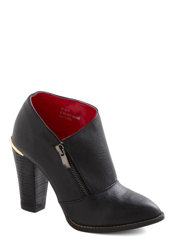 Kick of Unconventional Bootie - Black, Solid, Exposed zipper, Party, Casual, Urban, Minimal, Faux Leather, High