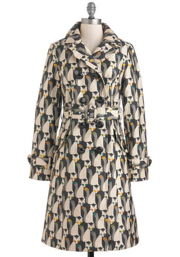 Orla Kiely The Fox of Life Raincoat by Orla Kiely - Long, Multi, Green, Tan / Cream, Grey, Print with Animals, Buttons, Pockets, Long Sleeve, Quirky, Fall, Spring, Belted, Double Breasted, 2, International Designer