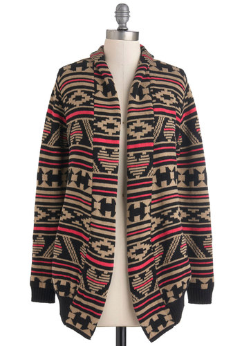 Geometry House Cardigan by Sugarhill Boutique - Knitted, Casual, Long Sleeve, Print, Rustic, Cotton, International Designer, Black, Multi, Tan / Cream, Mid-length