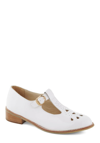 It's Snow Wonder Flat - White, Solid, Cutout, Casual, Vintage Inspired, 90s, Leather, Low, Best, T-Strap