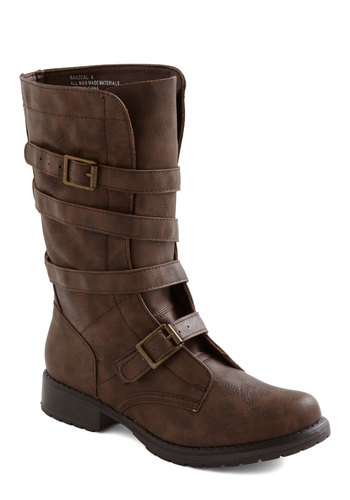 Going Spiral Boot - Brown, Solid, Buckles, Casual, Faux Leather, Low