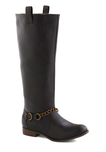 Coffee Bean There Boot - Brown, Solid, Chain, Casual, Fall, Faux Leather, Low