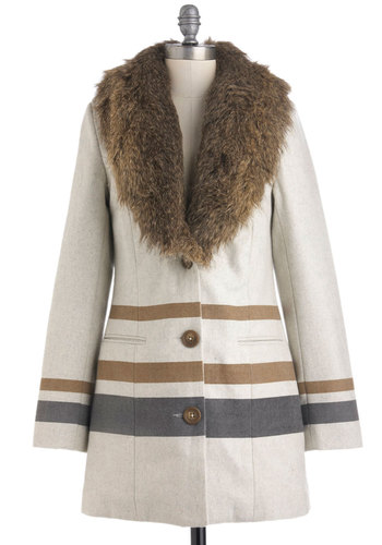 Morning Coffee Shop Coat by Gentle Fawn - Long, Brown, Grey, Buttons, Pockets, Long Sleeve, 3, Cream, Stripes, Fall, Winter