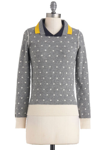 Lauren Moffatt Double the Dots Sweater by Lauren Moffatt - Mid-length, Grey, Tan / Cream, Polka Dots, Casual, Long Sleeve, Menswear Inspired, Scholastic/Collegiate, Collared