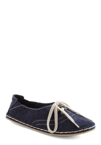 Sailing in Canvas Sneaker - Blue, White, Solid, Casual, Nautical, Lace Up, Flat
