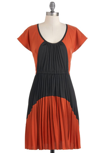 Plenty by Tracy Reese Down by the Fireside Dress by Plenty by Tracy Reese - Mid-length, Orange, Blue, Cutout, Pleats, Casual, Short Sleeves, Sheath / Shift, Fall, Jersey, Scoop