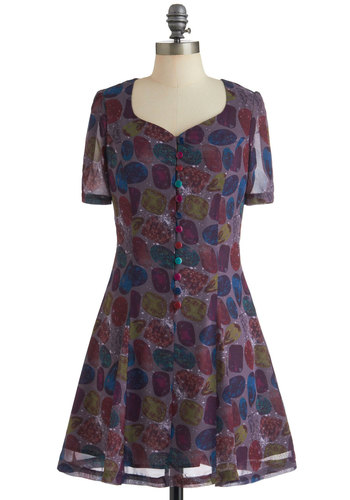 Show You Carat Dress - Mid-length, Purple, Multi, Print, Buttons, Casual, A-line, Short Sleeves, Multi, International Designer