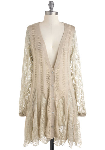 Good as Gossamer Cardigan - Cream, Buttons, Lace, Trim, Long Sleeve, Casual, Fairytale, French / Victorian, Sheer, Button Down, V Neck