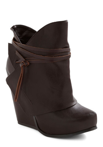Swathe Your Step Wedge - Brown, Solid, Casual, Fall, Faux Leather, Platform, Wedge