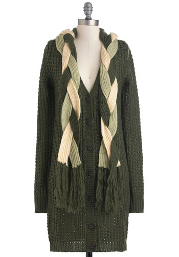 Tricks of the Braid Cardigan - Green, White, Solid, Braided, Buttons, Knitted, Casual, Vintage Inspired, Long Sleeve, Fringed, Rustic, Fall, Winter, Sheer, Holiday Sale, Button Down, V Neck, Tis the Season Sale