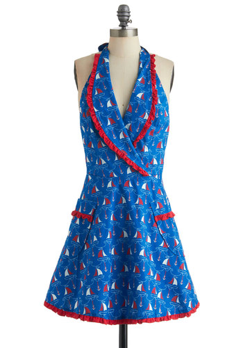 My Kind of Galley Apron - Blue, Vintage Inspired, Print