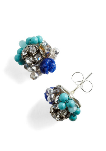 Stunning by the Stream Earrings - Blue, White, Beads, Flower, Rhinestones, Formal, Prom, Wedding, Cocktail, Holiday Party
