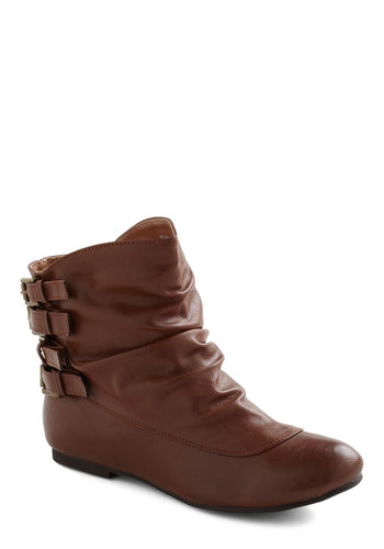 Buckle Buccaneer Bootie - Tan, Buckles, Boho, Fall, Solid, Casual, Faux Leather, Flat, Winter, Basic