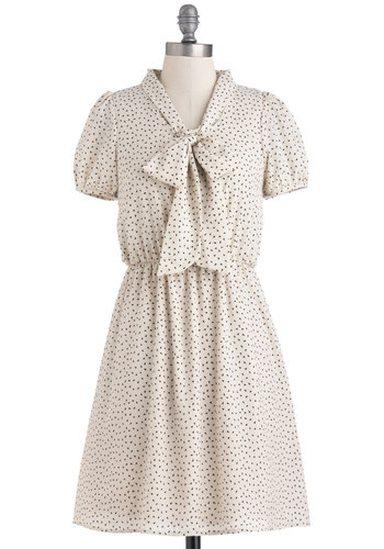 Ice Cream Anytime Dress - Cream, Black, Print, A-line, Short Sleeves, Tie Neck, Mid-length, Scholastic/Collegiate