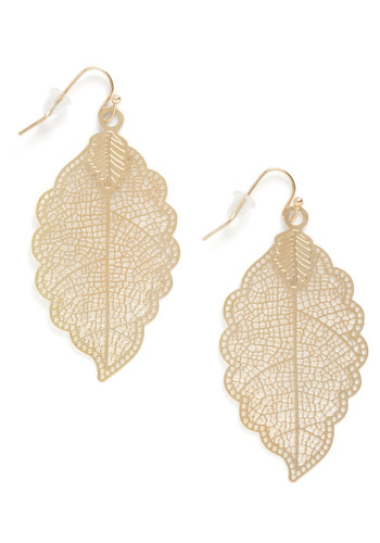I Be-Leaf So Earrings - Gold, Casual, Fall, Boho, Gold, Top Rated