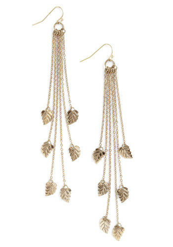 Leaflet It Shine Earrings - Gold, Chain
