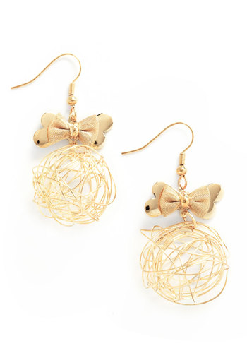 Sphere and Now Earrings - Gold, Solid, Bows, Party