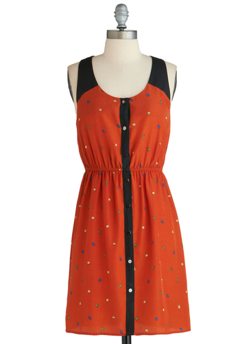 Sample 2167 - Orange, Black, Multi, Print, Buttons, Cutout, Casual, Sheath / Shift, Sleeveless