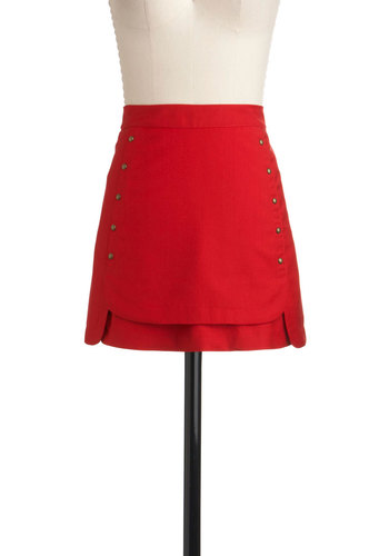Join the Ranks Skirt by Gentle Fawn - Short, Red, Buttons, A-line, Casual, 90s