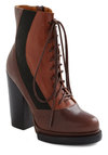 Cocoa to Go Boot by Jeffrey Campbell - Brown, Black, Casual, Fall, Leather, Platform, Lace Up, High