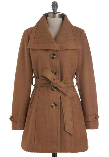 Camel, Saw, and Conquered Coat - Brown, Solid, Buttons, Pockets, Belted, Long Sleeve, Winter, 4, Long