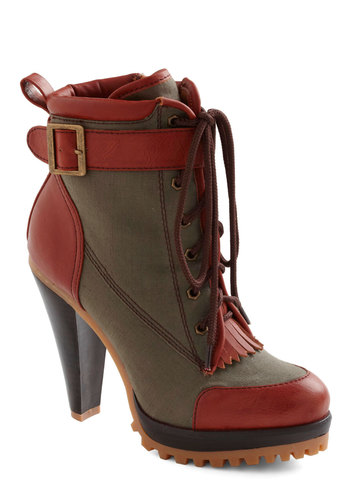 Taking Charge Bootie - Buckles, Military, Fall, Red, Green, Brown, Fringed, Casual, Press Placement, Faux Leather, Platform, Lace Up, High