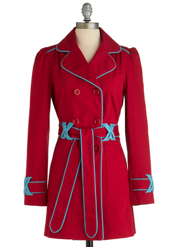 Lovely to be Lively Coat - Long, Red, Blue, Buttons, Trim, Long Sleeve, 2, Solid, Pockets, Spring, Fall, Cotton