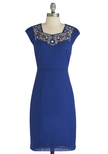 Heirloom to the Throne Dress - Long, Blue, White, Gold, Embroidery, Wedding, Cocktail, Shift, Cap Sleeves, Solid, Holiday Party
