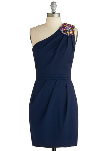 Deep Sea Date Dress - Short, Blue, Solid, Beads, Wedding, Cocktail, Sheath / Shift, One Shoulder, Pleats, Party, Bridesmaid