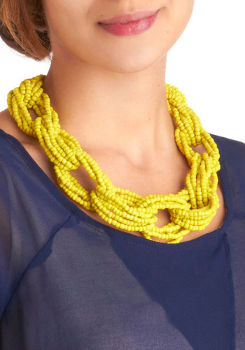 Bead You Adieu Necklace - Yellow, Beads, Party, Casual, Statement