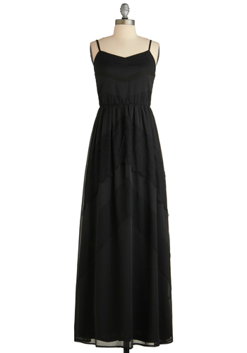 Heirloom of Mystery Dress - Long, Black, Casual, Maxi, Spaghetti Straps, Summer, Solid, Lace, Boho, 70s, Sheer