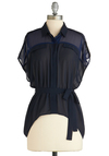 Mystery Stylish Theater Top - Mid-length, Blue, Solid, Short Sleeves, Belted, Work, Sheer, Button Down, Collared, Exclusives