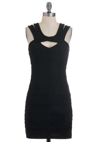 In the Spotlight Dress - Black, Solid, Cutout, Party, Mini, Tank top (2 thick straps), Summer, Mid-length, Girls Night Out
