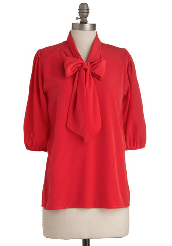 Des Colores Top in Rouge - Mid-length, Red, Solid, Work, Vintage Inspired, 3/4 Sleeve