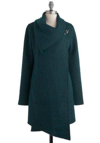 Take a Breakwater Coat by BB Dakota - Green, Solid, Pockets, Long Sleeve, Casual, 3, Long