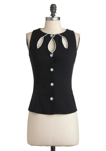 Swell-Heeled Top - Mid-length, Black, White, Buttons, Cutout, Sleeveless, Solid, Casual, Girls Night Out, Button Down, Mod