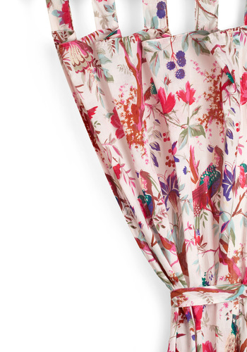 Flora and Fauna and Fabulous Curtain in Pink by Karma Living - Pink, Dorm Decor, Floral, Cotton
