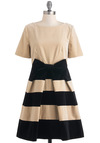 Orla Kiely Solo Violinist Dress by Orla Kiely - Mid-length, Tan, Black, Stripes, Bows, Party, A-line, Fit & Flare, Short Sleeves, Pleats, Vintage Inspired, Cotton, International Designer