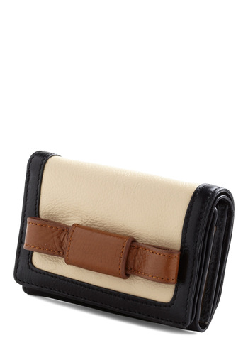 Orla Kiely Cash on the Bow Wallet by Orla Kiely - Multi, Brown, Tan / Cream, Black, Bows, Leather, International Designer